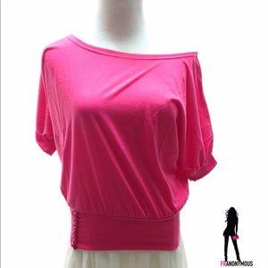 Tops - Pink Cotton Off Shoulder Top